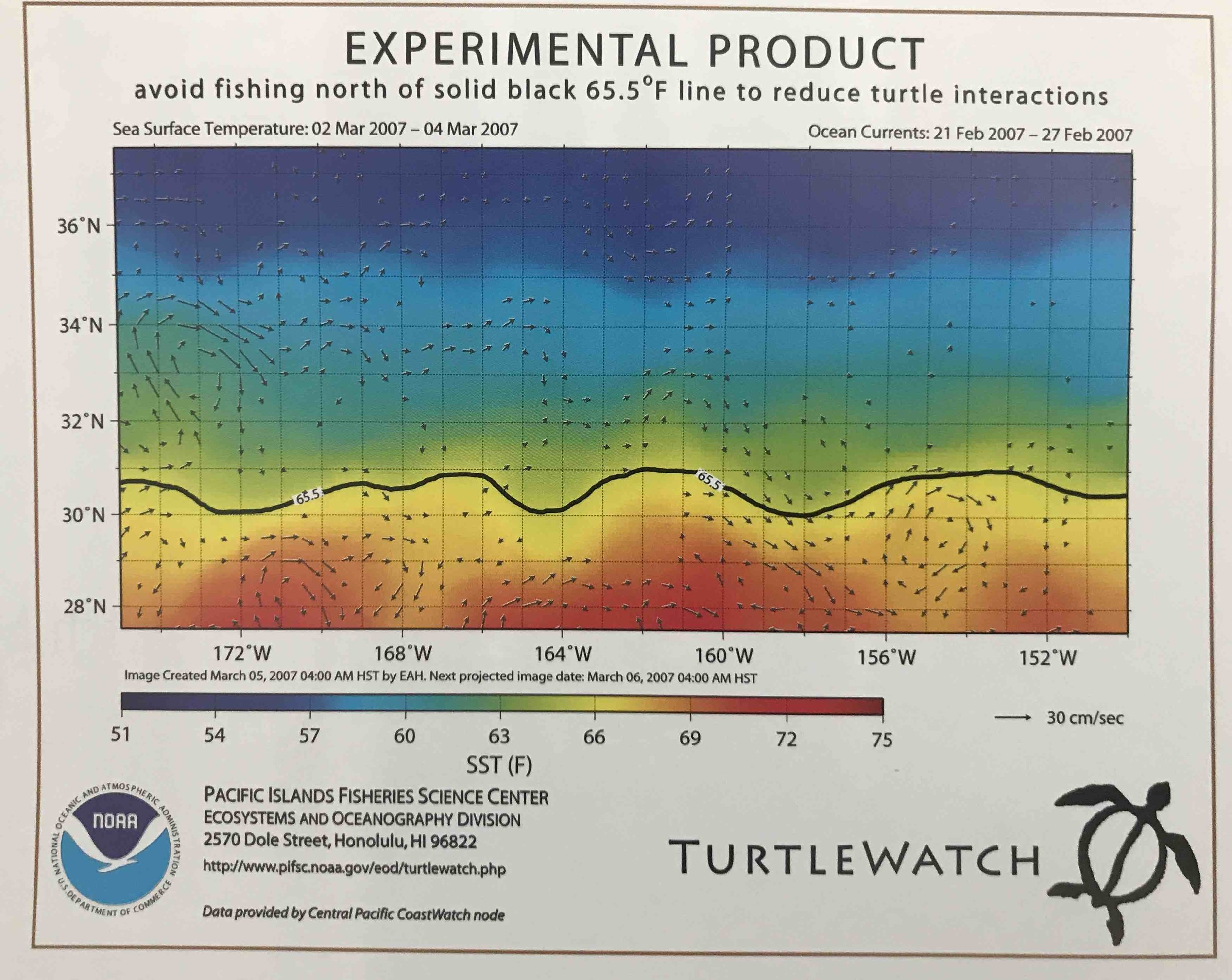 TurtleWatch  uses up-to-date oceanographic information to give recommendations to longline fishers about which ares to fish if they are to avoid accidentally catching loggerheads (see the highlighted areas on the graph) © NOAA PACIFIC ISLANDS FISHERIES SCIENCE CENTER