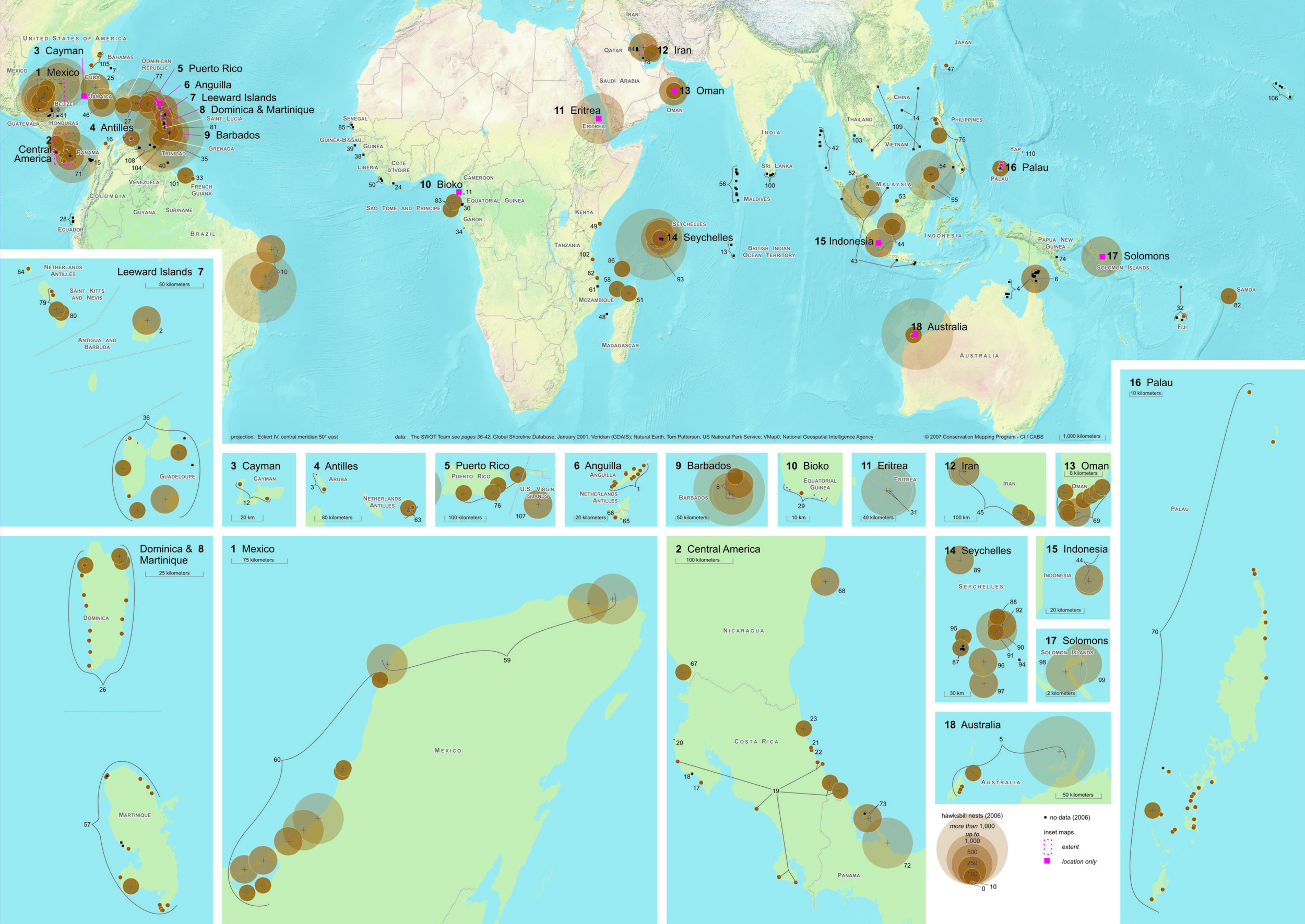 Worldwide Hawksbill Nesting Sites, 2006 ( data citations ) |   SWOT Report , vol. III (2008) .