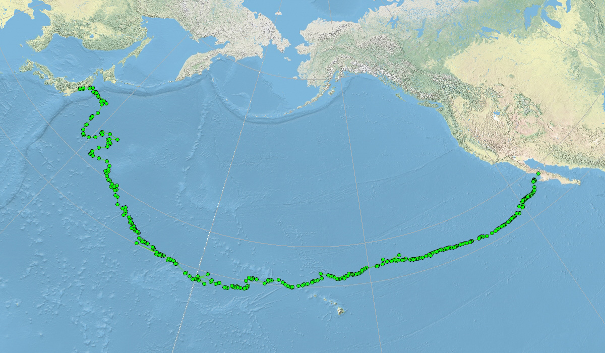This map shows satellite telemetry data from a loggerhead known as Adelita, the first sea turtle ever tracked on a trans-Pacific journey. Adelita was released in Santa Rosalita, Baja, Mexico, and tracked to the Japanese coast before her satellite transmitter stopped sending signals. She most likely became caught in fishing gear and drowned. Adelita's journey was recorded in 1996 by researchers Wallace J. Nichols, Jeffrey Seminoff, and Antonio and Beatris Resendiz.