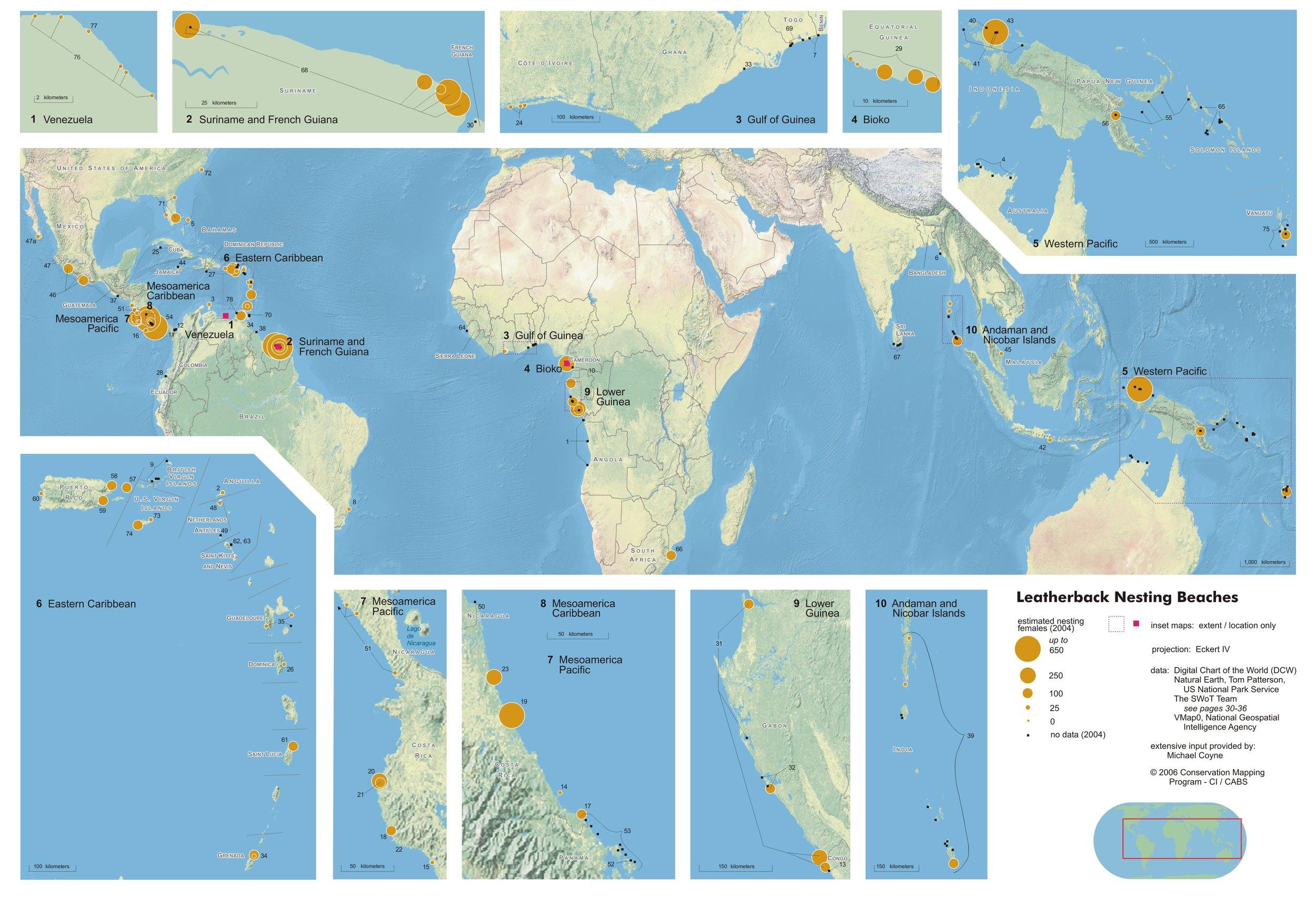 Worldwide Leatherback Nesting Sites 2004 ( data citations ) |  SWOT Report  , vol. I (2006) .