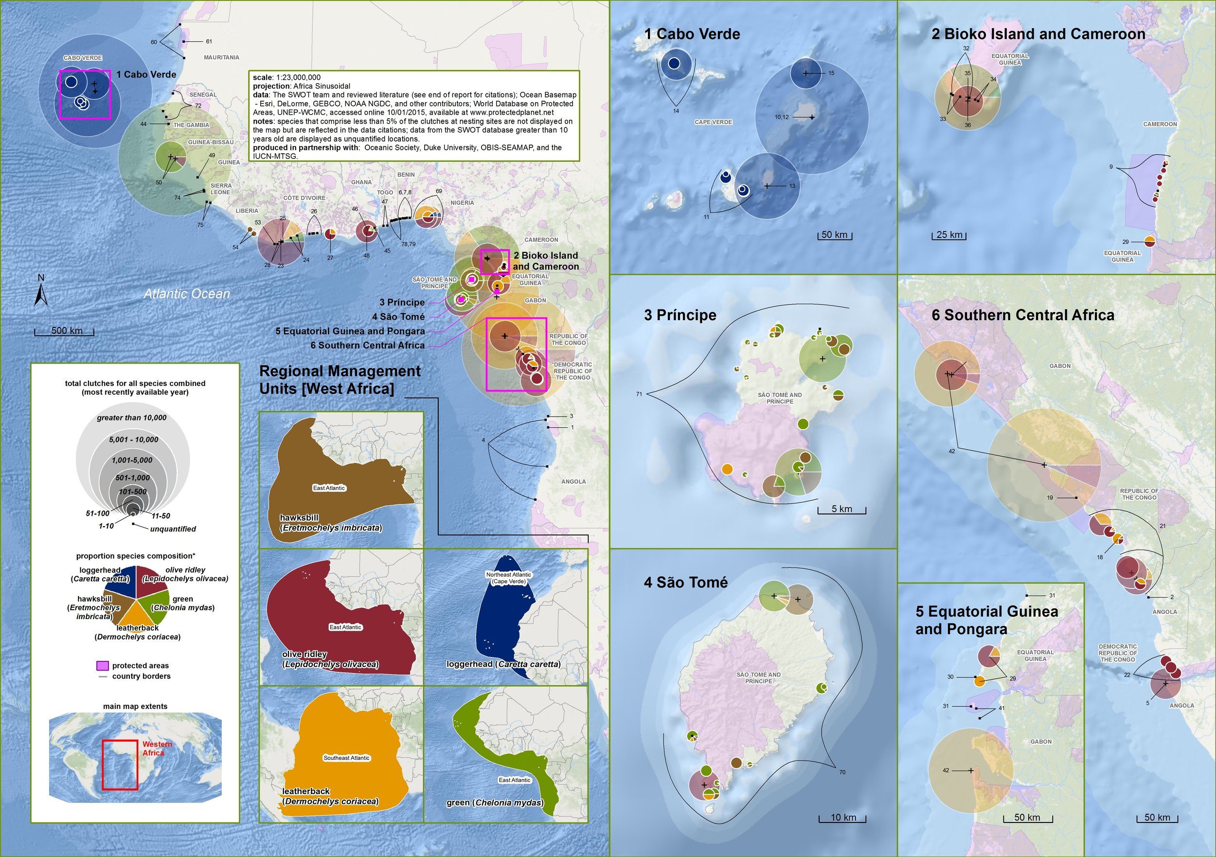 Nesting Biogeography of Sea Turtles in Atlantic Africa ( data citations ) |   SWOT Report , vol. XII (2017) .