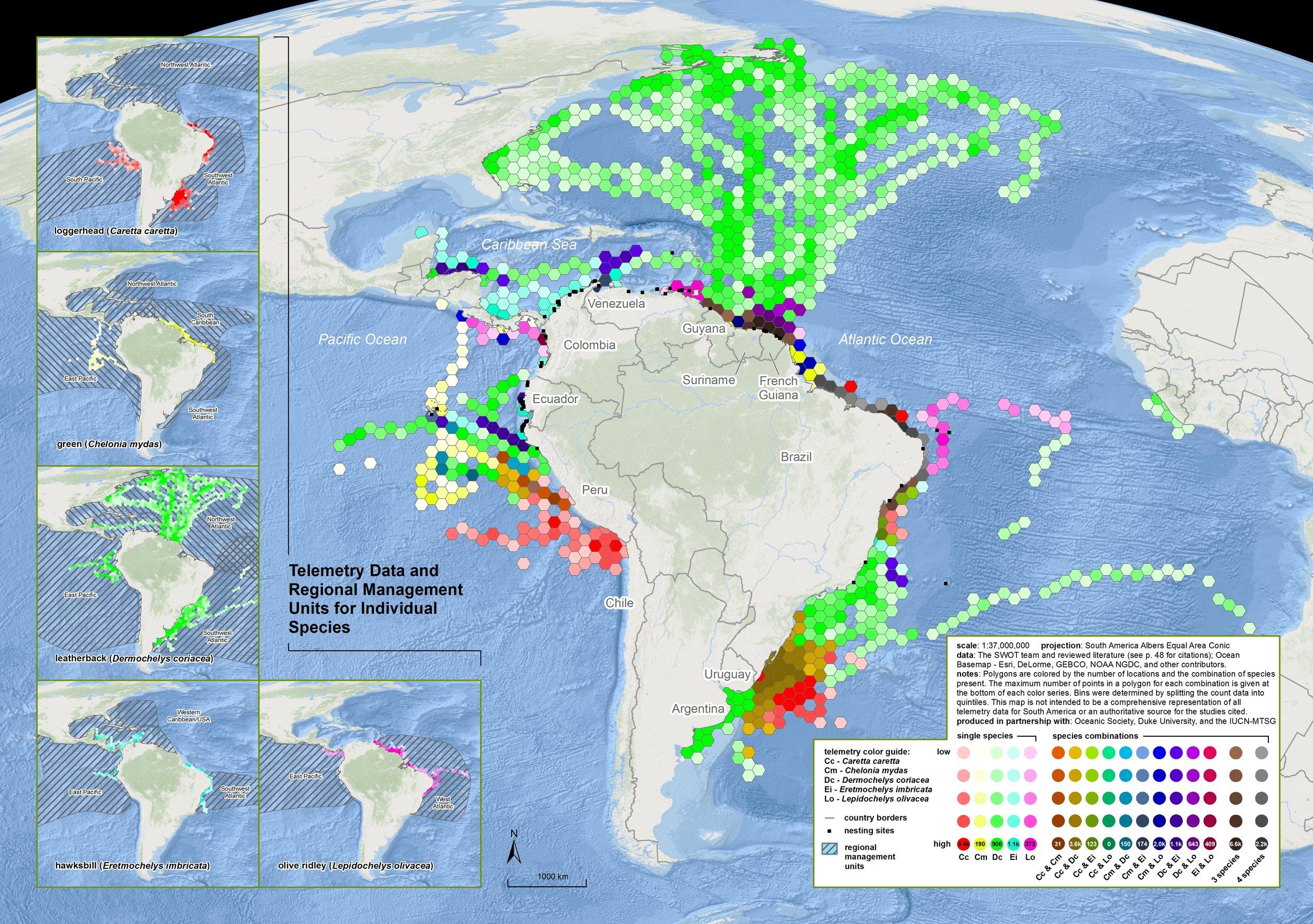 Sea Turtle Satellite Telemetry Data Originating in South America ( data citations ) |   SWOT Report , vol. XI (2016) .