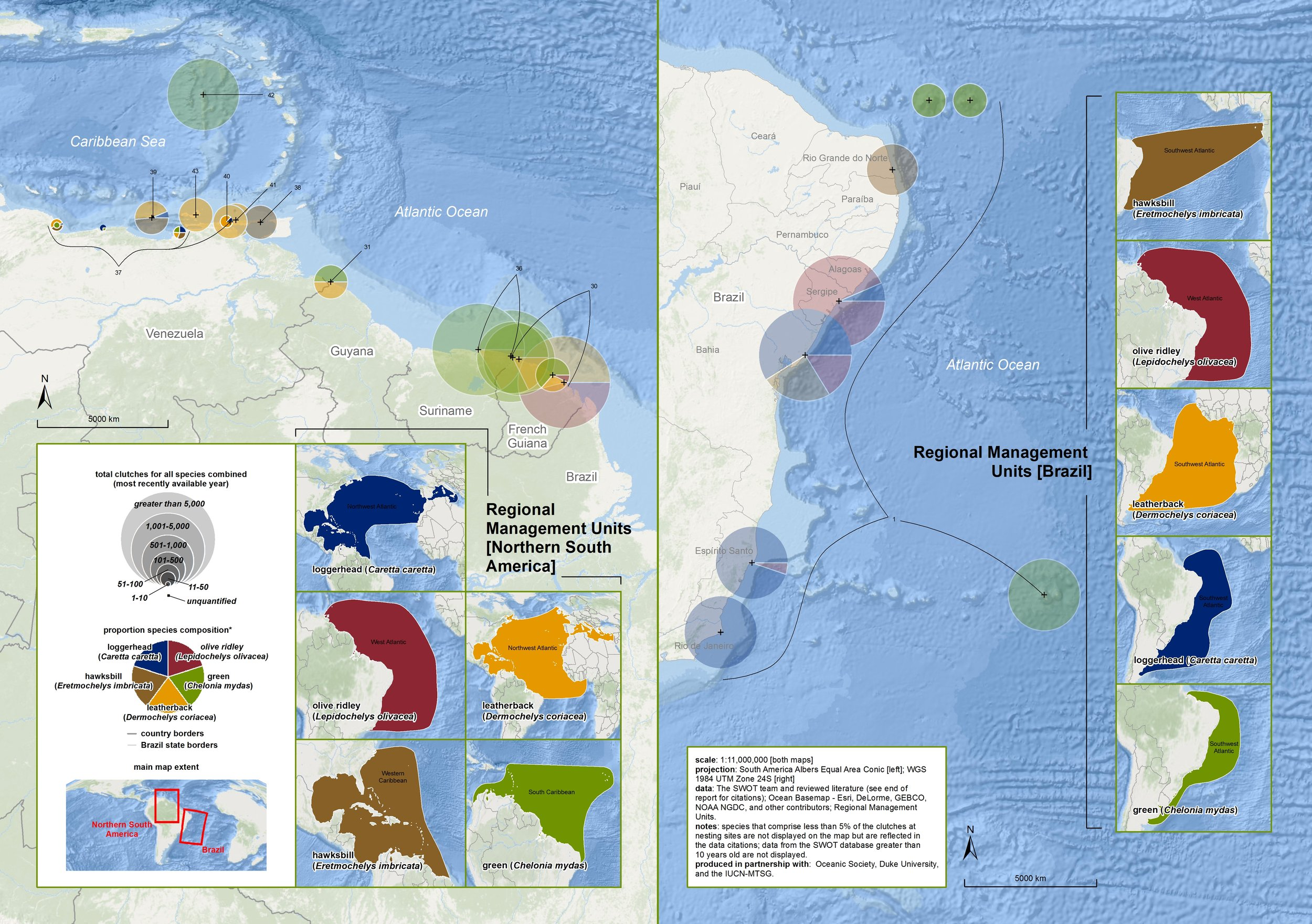 Nesting Biogeography of Sea Turtles in Northern South America and Brazil ( data citations ) |   SWOT Report , vol. XI (2016) .