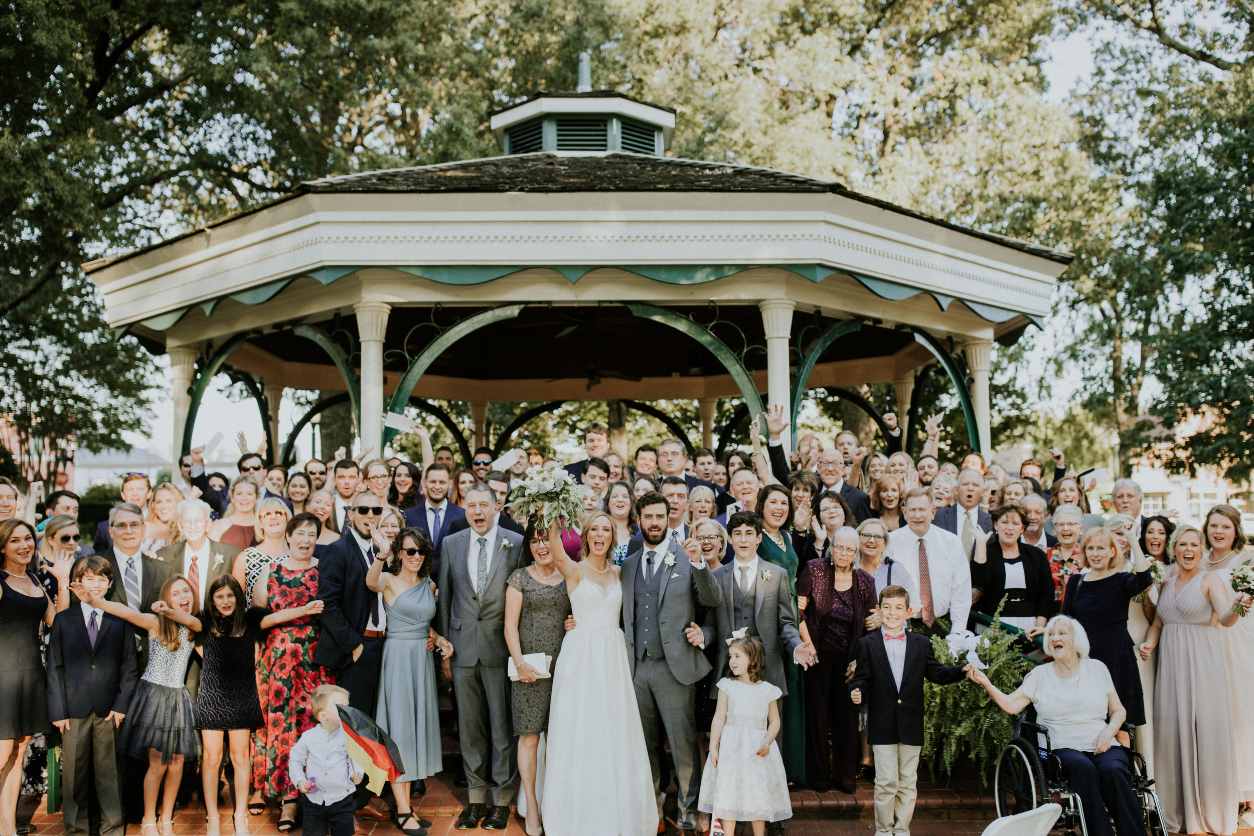 Anna and Joseph requested a group photo with all their guests right after the ceremony. It was so awesome! Anna's family came from Germany, and their friends traveled from around the globe to celebrate with them in Collerville, Tennessee.