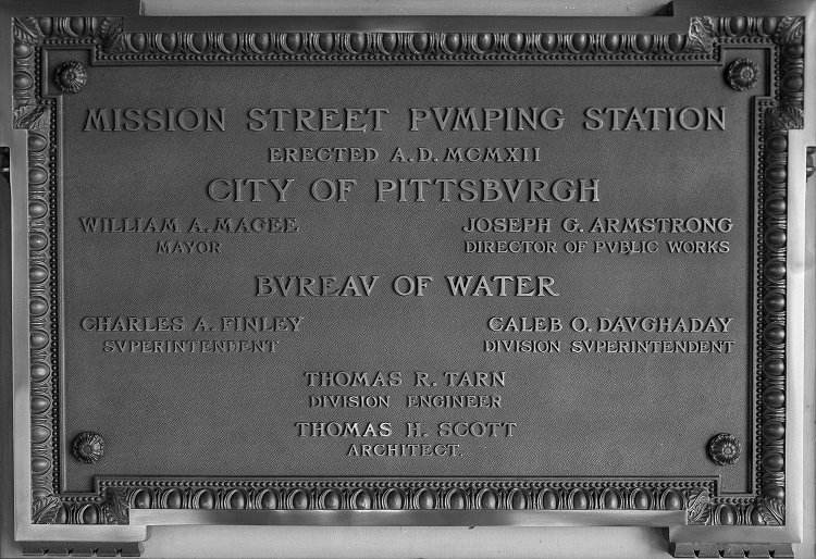 A plaque from the Mission Street Pumping Station, erected 1912