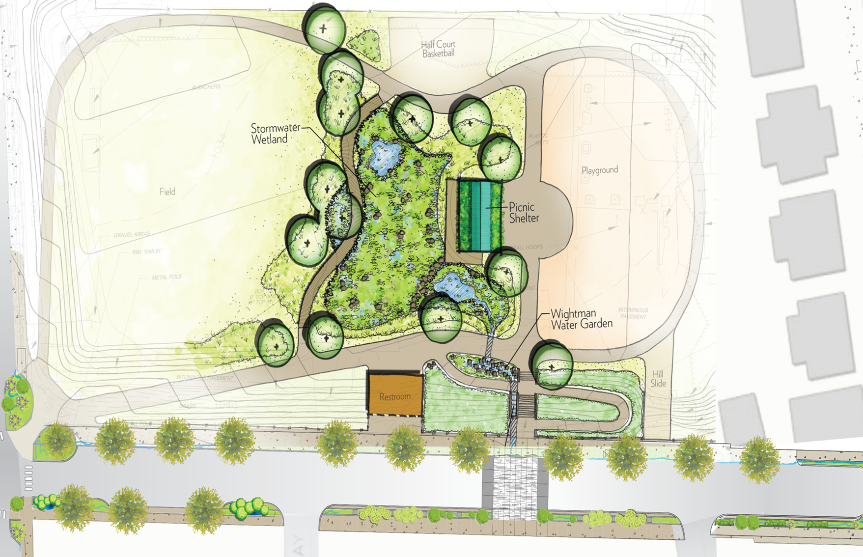 Rendering of Wightmant Park Stormwater Projects (click to enlarge)