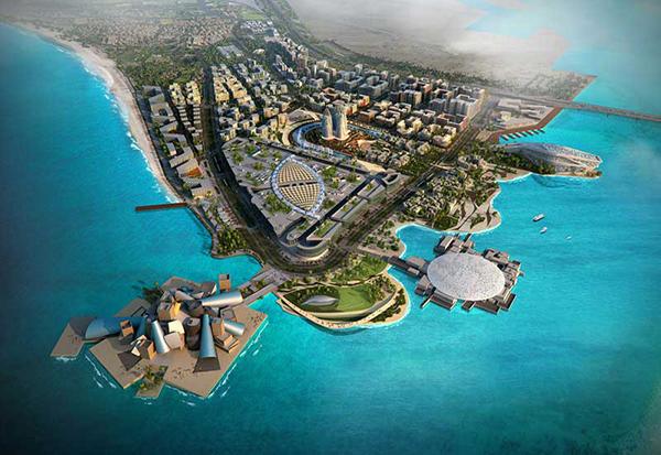 Saadiyat Adası projesinde yer alan Guggenheim Abu Dhabi ve Louvre Abu Dhabi
