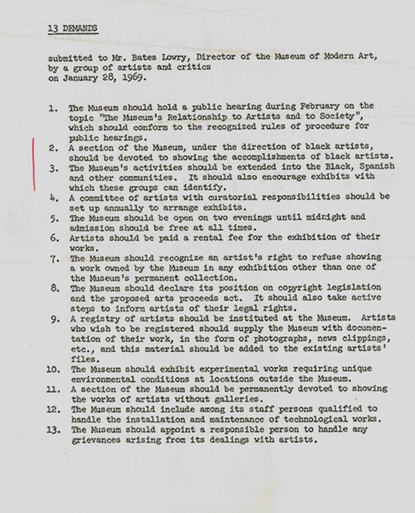 MoMA direktörüne hitaben yazılmış talep listesi