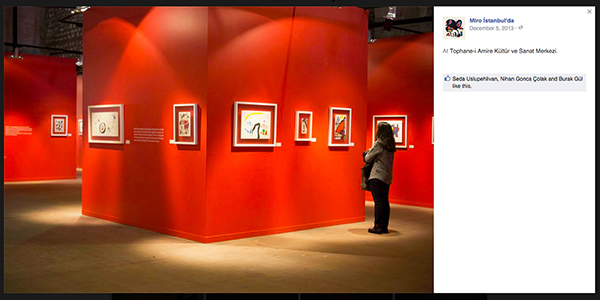 Installation view of 'Miró in Istanbul' at Tophane-i Amire Culture and Arts Center (screenshot  via Facebook )