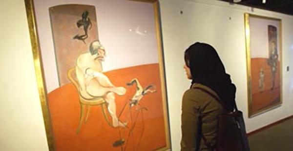 Tahran Çağdaş Sanatlar Müzesi'nde yalnızca iki kanadı sergilenen Francis Bacon triptiği