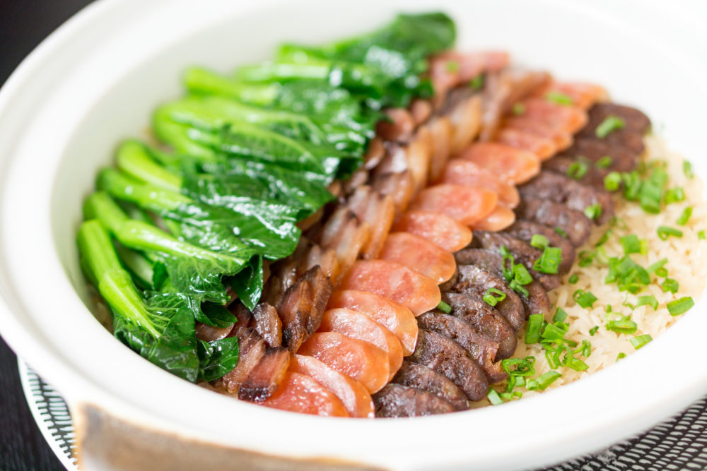 Chinese New Year 2018 - Racines, Sofitel Singapore City Centre - Steamed Fragrant Rice with Chef's Selection of Waxed Meats and Bok Choy