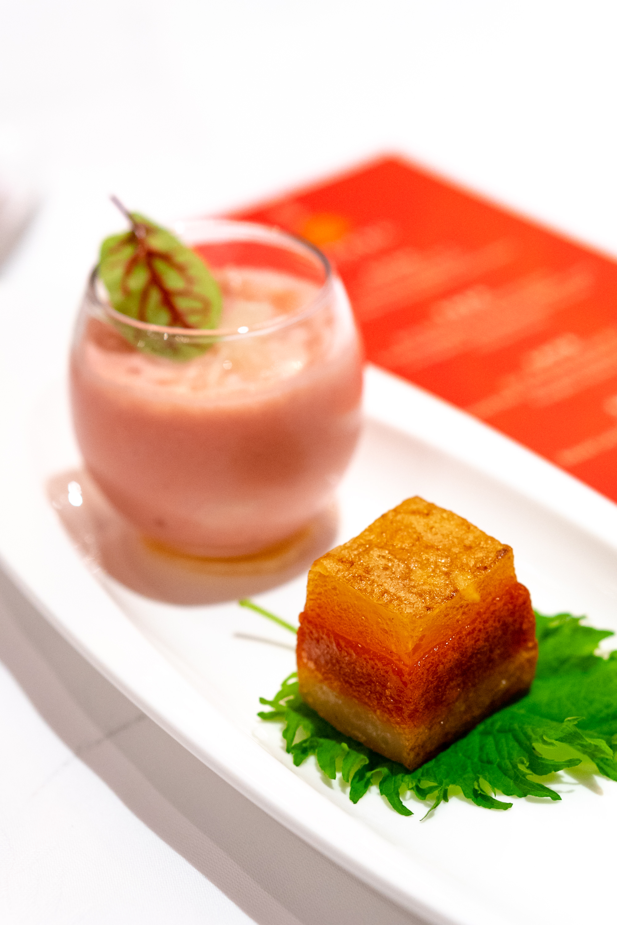 Chilled Guava Sago Cream and Pomelo accompanied with Fortune Nian Gao