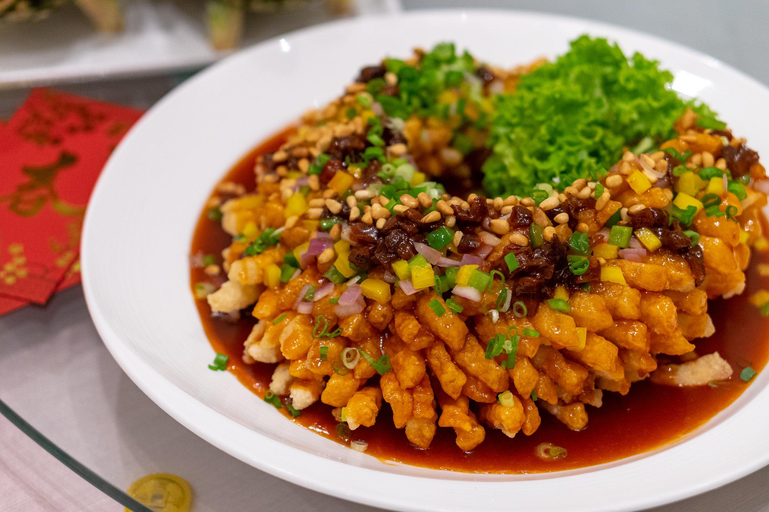 Full of Luck Deep-fried Chilean Seabass with Hawthorn Sauce 福禄盈余 – 山楂糖醋松子鱼