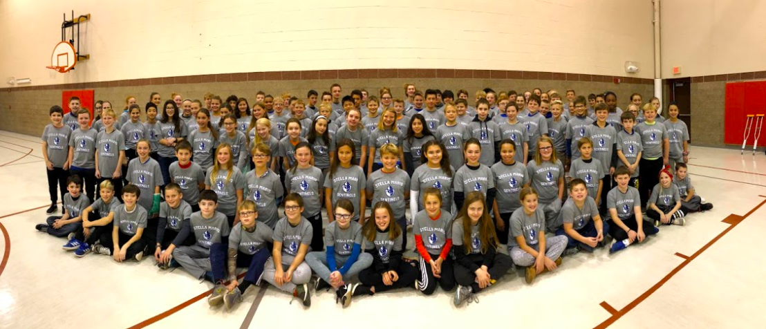SMA students prepare to head out into the community on their annual day of service in 2018.