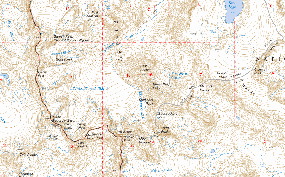 Forest Service topo map of the Wind River Range - available for free on Caltopo
