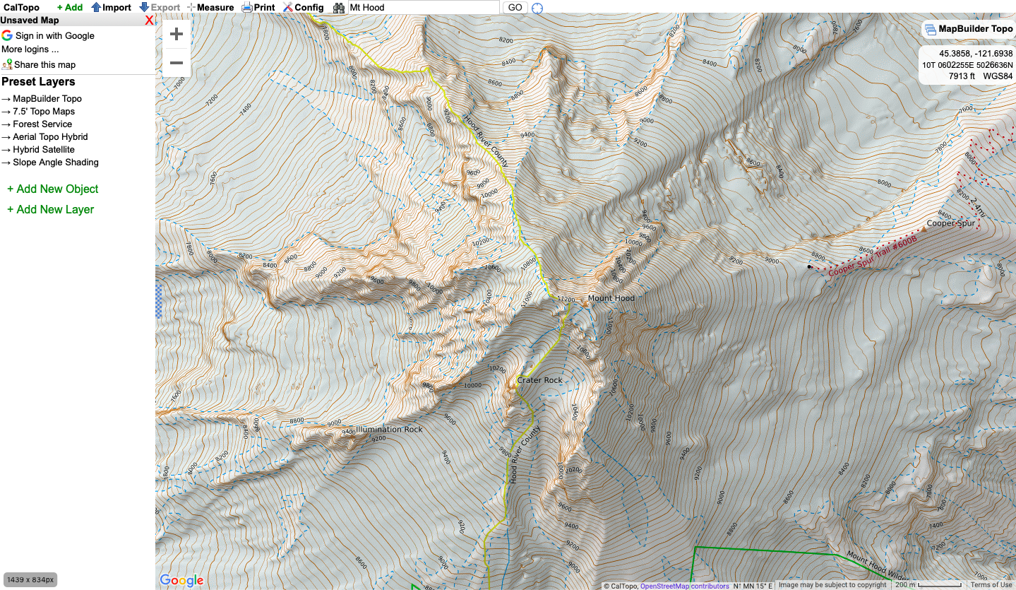 caltopo with default MapBuilder Topo map layer selected