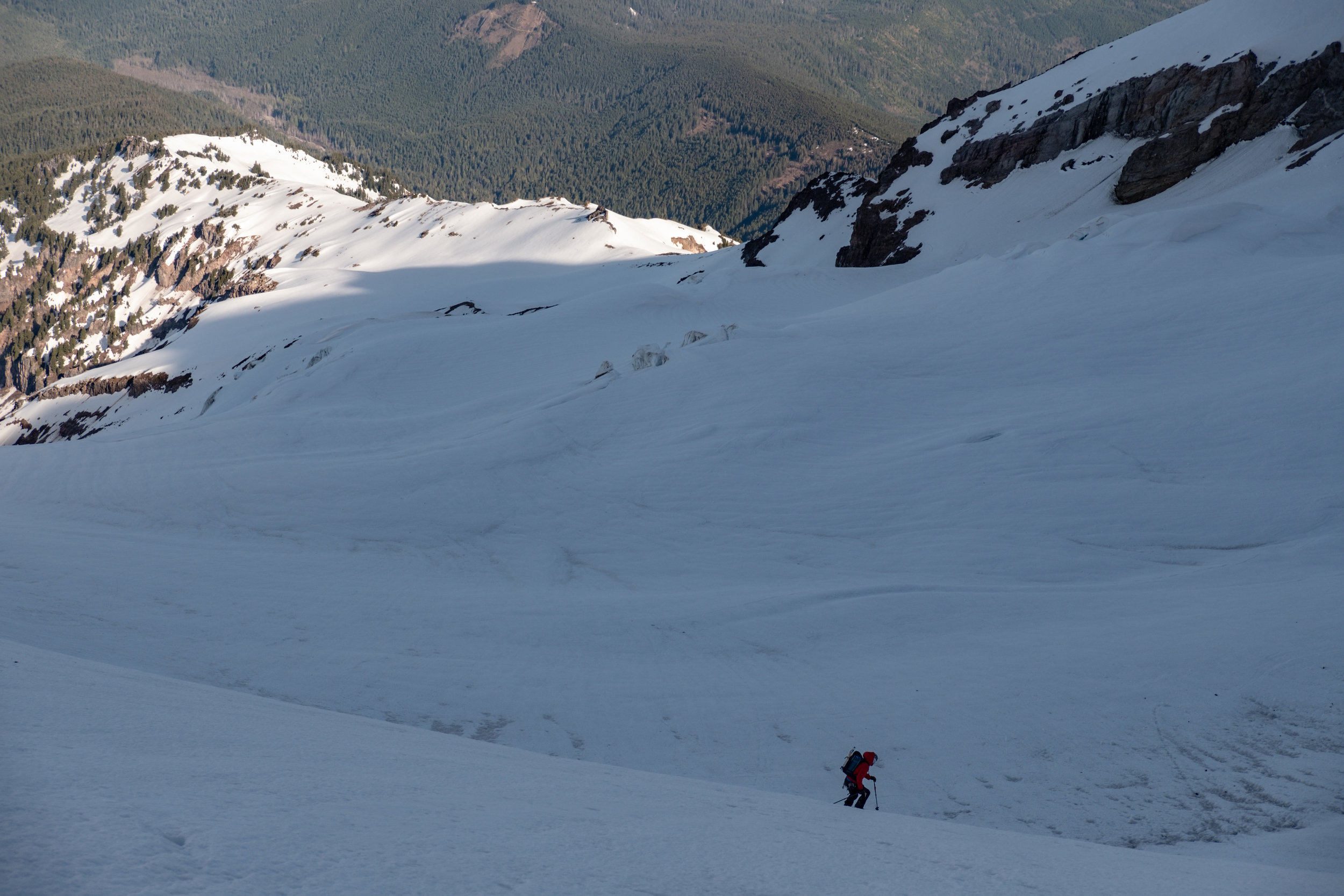 lower Reid Glacier - be mindful of crevasses and choose to traverse to Yokum Ridge where it looks good