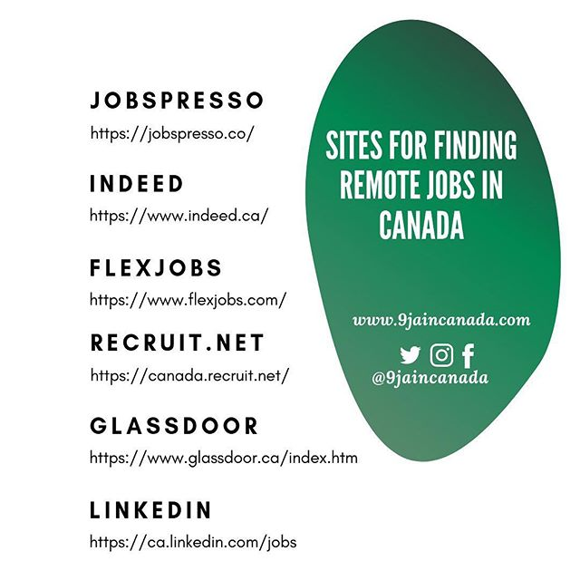 "Websites such as ""jobspresso"" and ""flexjobs"" are dedicated to posting mostly remote jobs, to find work from home jobs on general sites such as ""indeed"" type ""work from home"" or ""remote jobs"" in the keyword/search section. ————————————————————— #9jaincanada #canadianworkingmom #workingremotely #newtocanada  #workfromhomemoms  #workingmum  #africanprofessional  #worklifebalanced"