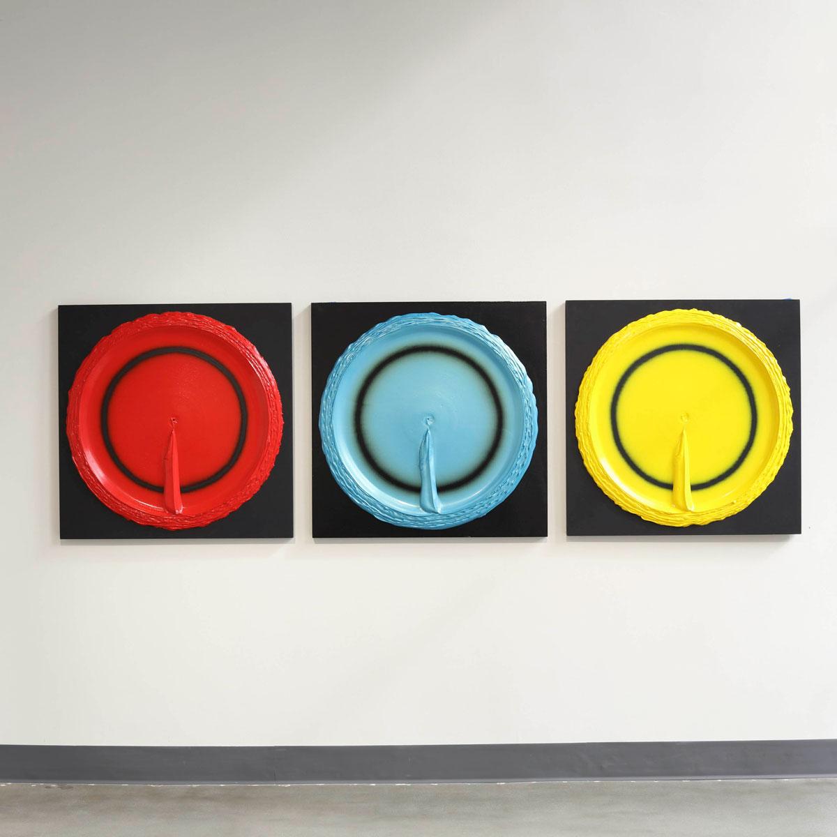 Untitled , 2014, acrylic on panels, 36 x 36 inches (3 panels)