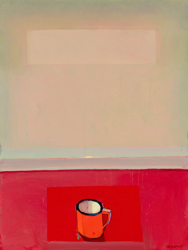 Untitled  (Red Cup), 2015, oil on canvas, 48 x 36 inches