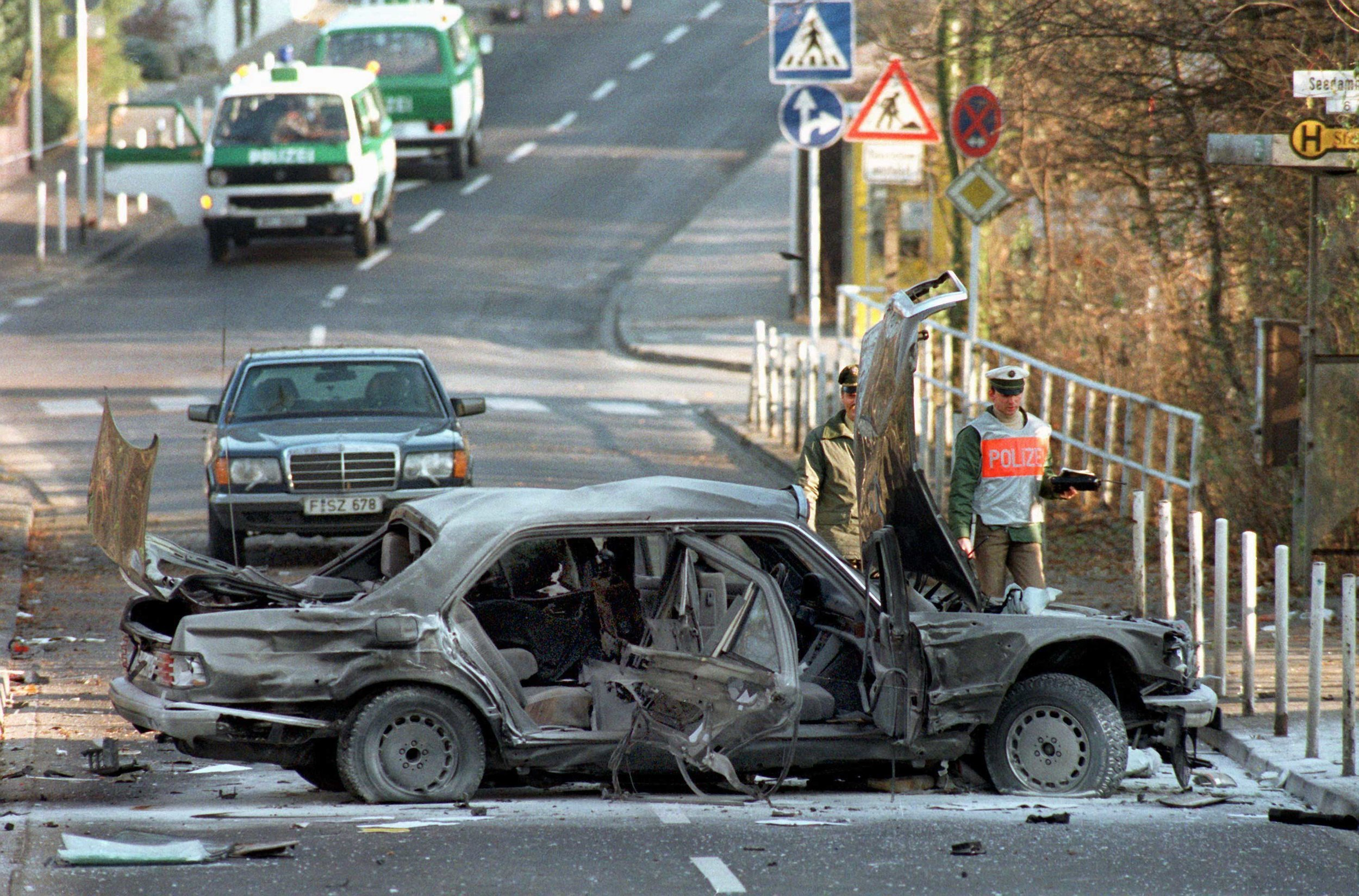 What was left of Herrhausen's armored vehicle after the 1989 attack. (AP Images)