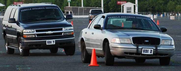 VDI students running evasive driving scenarios.