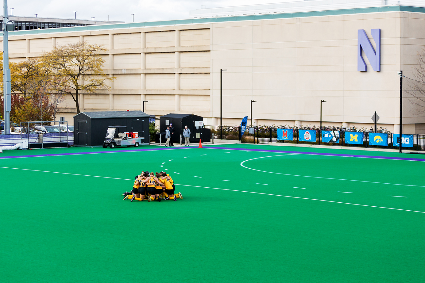 Iowa players huddle up before a penalty corner during the Semifinals in the Big Ten Field Hockey Tournament at Lakeside Field in Evanston, IL on Friday, Nov. 2, 2018. The no. 8 ranked Hawkeyes defeated the no. 7 ranked Wolverines 2-1.