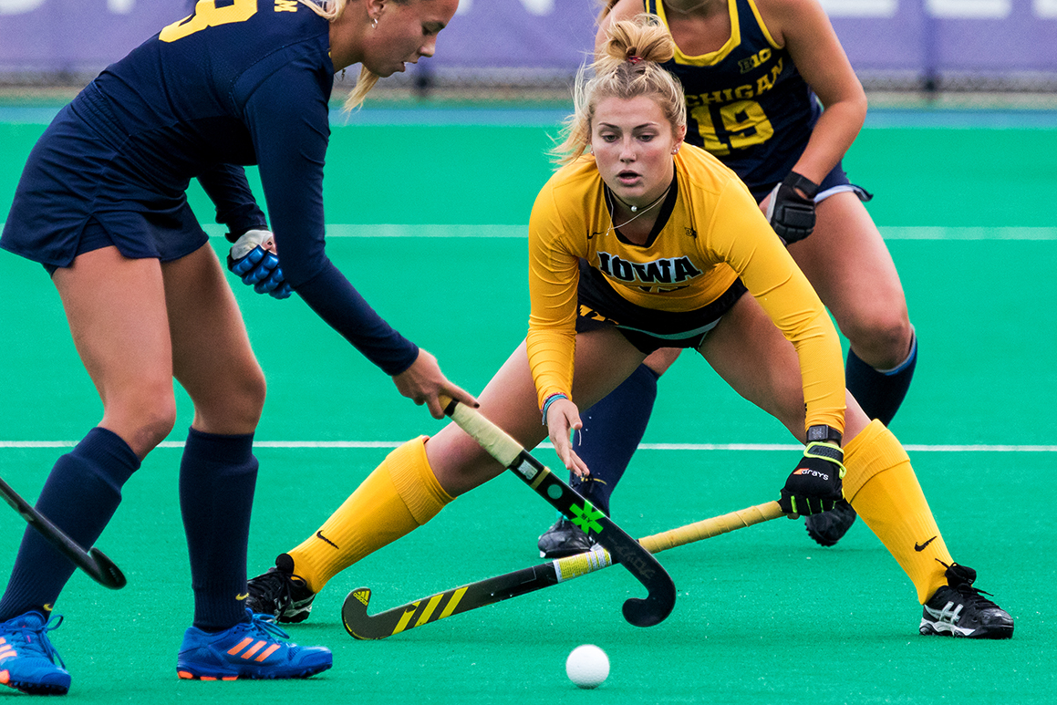 Iowa forward Leah Zellner eyes the ball during the Semifinals in the Big Ten Field Hockey Tournament at Lakeside Field in Evanston, IL on Friday, Nov. 2, 2018. The no. 8 ranked Hawkeyes defeated the no. 7 ranked Wolverines 2-1.