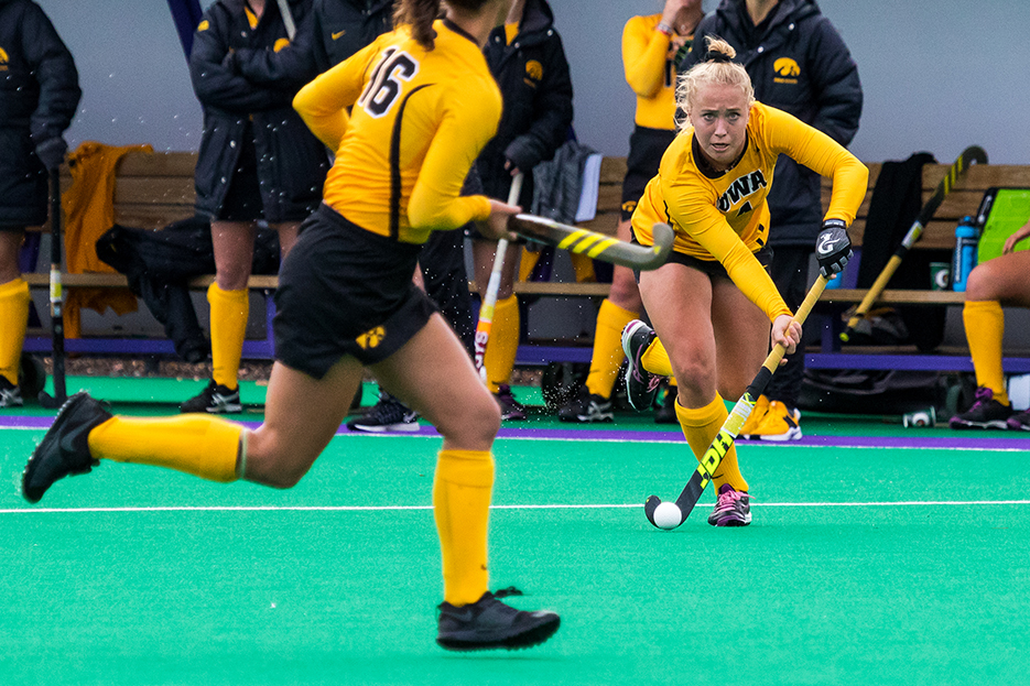 Iowa midfielder Makenna Grewe looks to pass the ball during the Semifinals in the Big Ten Field Hockey Tournament at Lakeside Field in Evanston, IL on Friday, Nov. 2, 2018. The no. 8 ranked Hawkeyes defeated the no. 7 ranked Wolverines 2-1. (