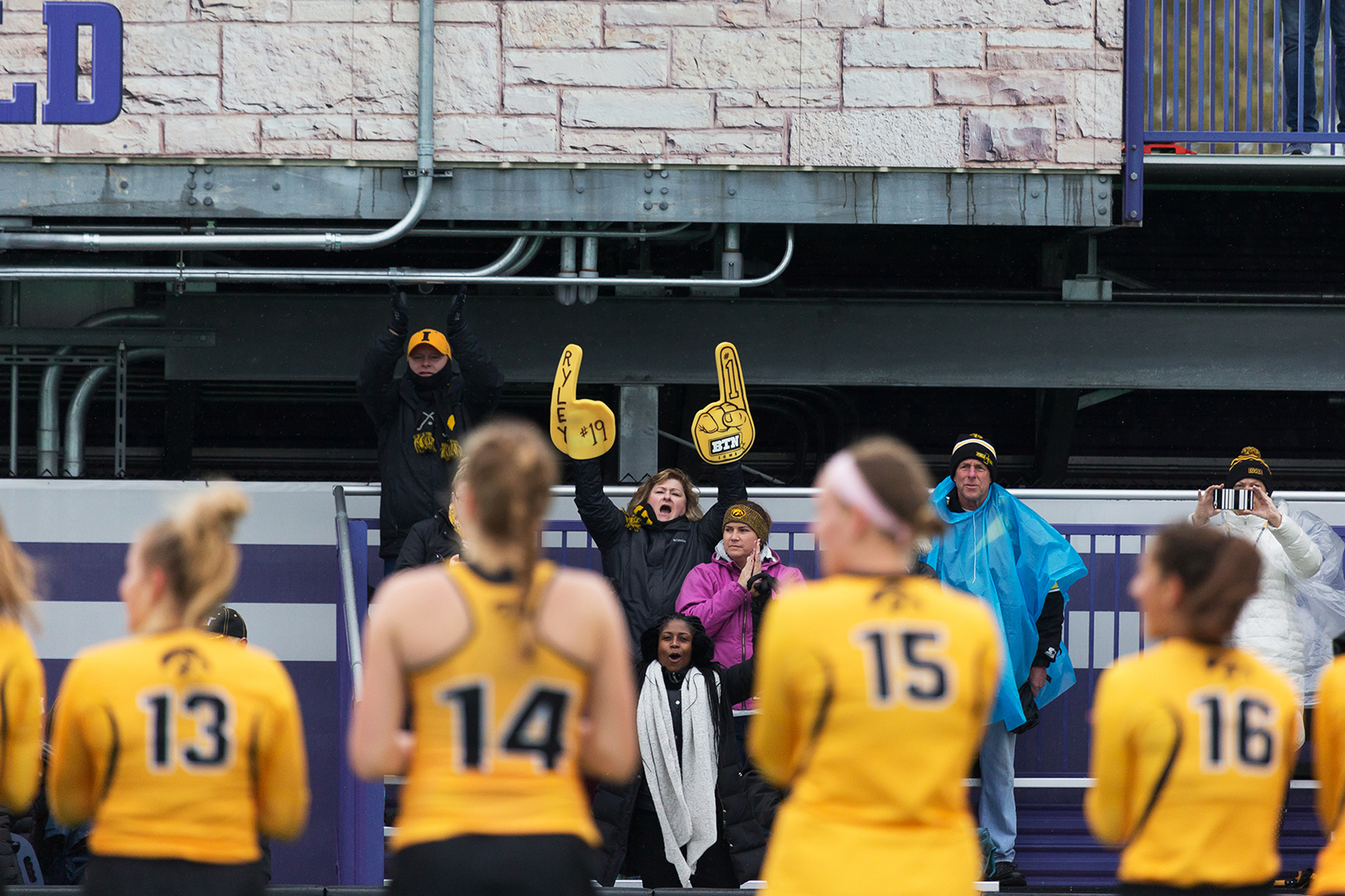 An Iowa fan cheers from the stands before the Championship Game in the Big Ten Field Hockey Tournament at Lakeside Field in Evanston, IL on Sunday, Nov. 3, 2018. The no. 2 ranked Terrapins defeated the no. 8 ranked Hawkeyes 2-1.
