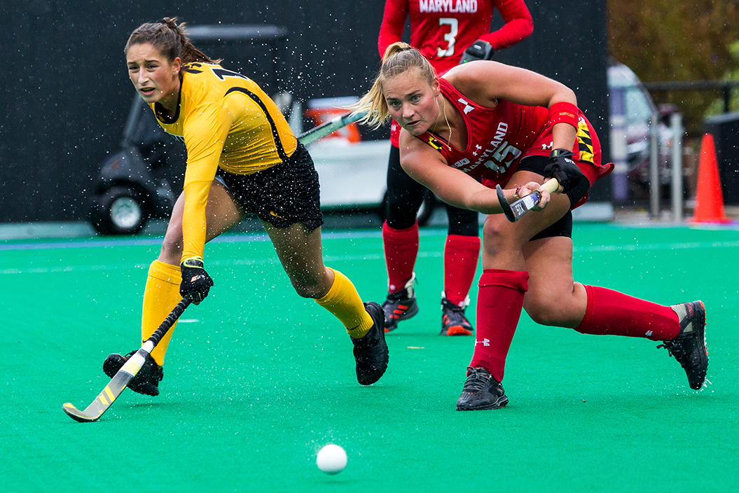 Maryland Defender Bodil Keus passes the ball during the Championship Game in the Big Ten Field Hockey Tournament at Lakeside Field in Evanston, IL on Sunday, Nov. 3, 2018. The no. 2 ranked Terrapins defeated the no. 8 ranked Hawkeyes 2-1.