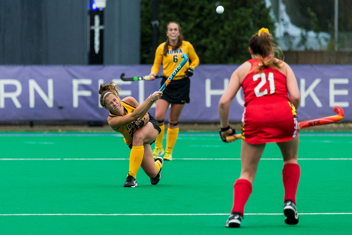 Iowa midfielder Sophie Sunderland lofts the ball during the Championship Game in the Big Ten Field Hockey Tournament at Lakeside Field in Evanston, IL on Sunday, Nov. 3, 2018. The no. 2 ranked Terrapins defeated the no. 8 ranked Hawkeyes 2-1.