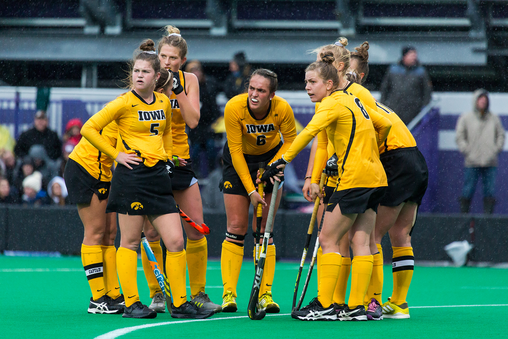 Iowa players look back at their bench during the Championship Game in the Big Ten Field Hockey Tournament at Lakeside Field in Evanston, IL on Sunday, Nov. 3, 2018. The no. 2 ranked Terrapins defeated the no. 8 ranked Hawkeyes 2-1.