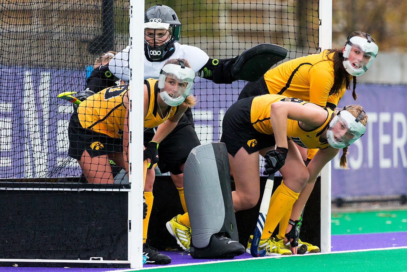 Iowa players stand in the goal to defend a penalty corner during the Championship Game in the Big Ten Field Hockey Tournament at Lakeside Field in Evanston, IL on Sunday, Nov. 3, 2018. The no. 2 ranked Terrapins defeated the no. 8 ranked Hawkeyes 2-1.