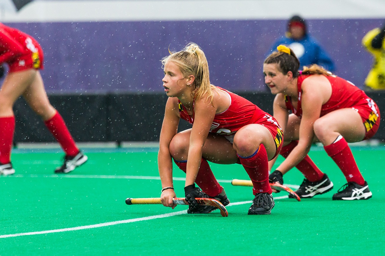 Maryland players wait for the ball to be put into play on a penalty corner during the Championship Game in the Big Ten Field Hockey Tournament at Lakeside Field in Evanston, IL on Sunday, Nov. 3, 2018. The no. 2 ranked Terrapins defeated the no. 8 ranked Hawkeyes 2-1.
