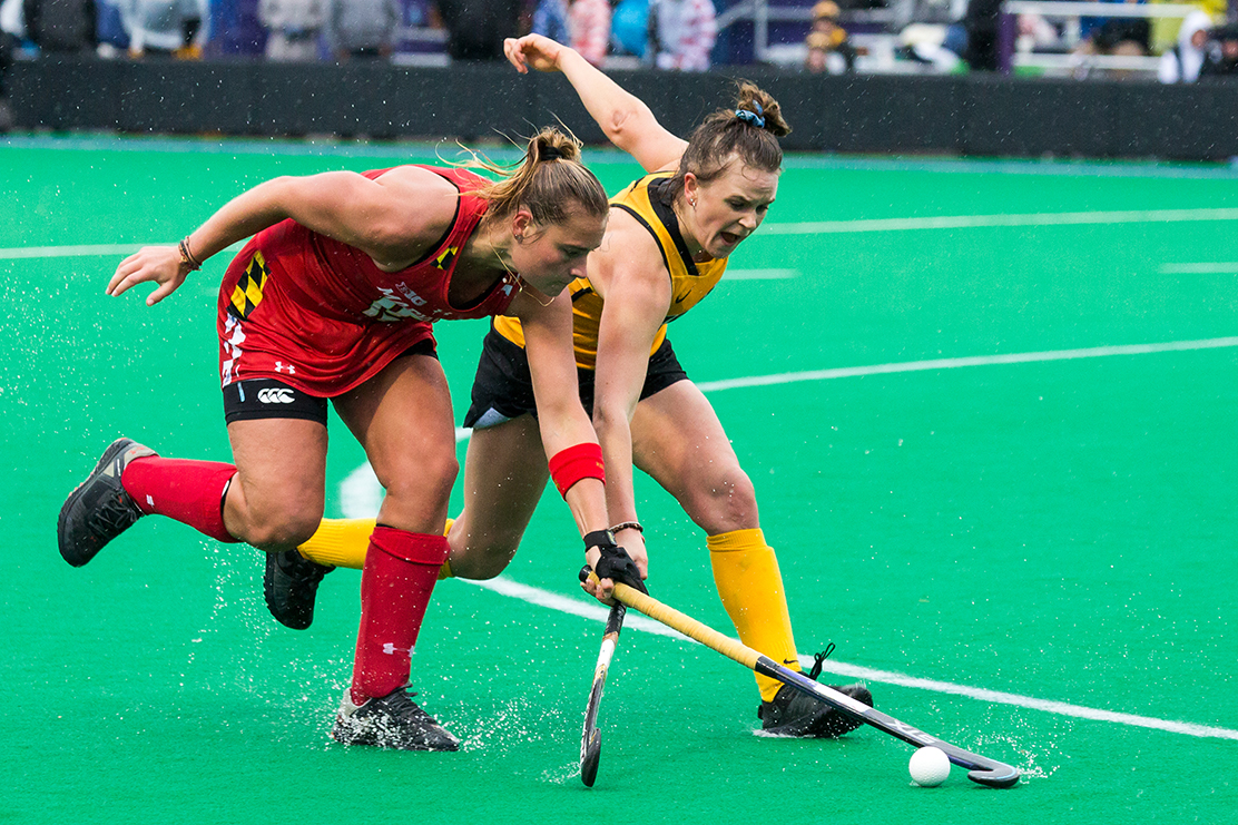 Iowa forward Maddy Murphy fights for the ball during the Championship Game in the Big Ten Field Hockey Tournament at Lakeside Field in Evanston, IL on Sunday, Nov. 3, 2018. The no. 2 ranked Terrapins defeated the no. 8 ranked Hawkeyes 2-1.