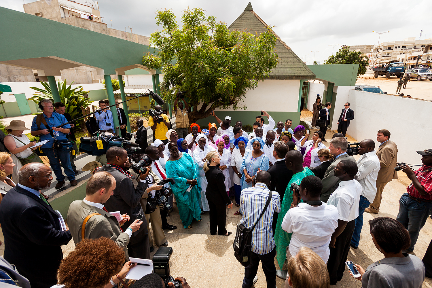 US Secretary of State Hillary Clinton visits a women's health clinic in Dakar, Senegal on Wednesday, Aug. 1, 2012.