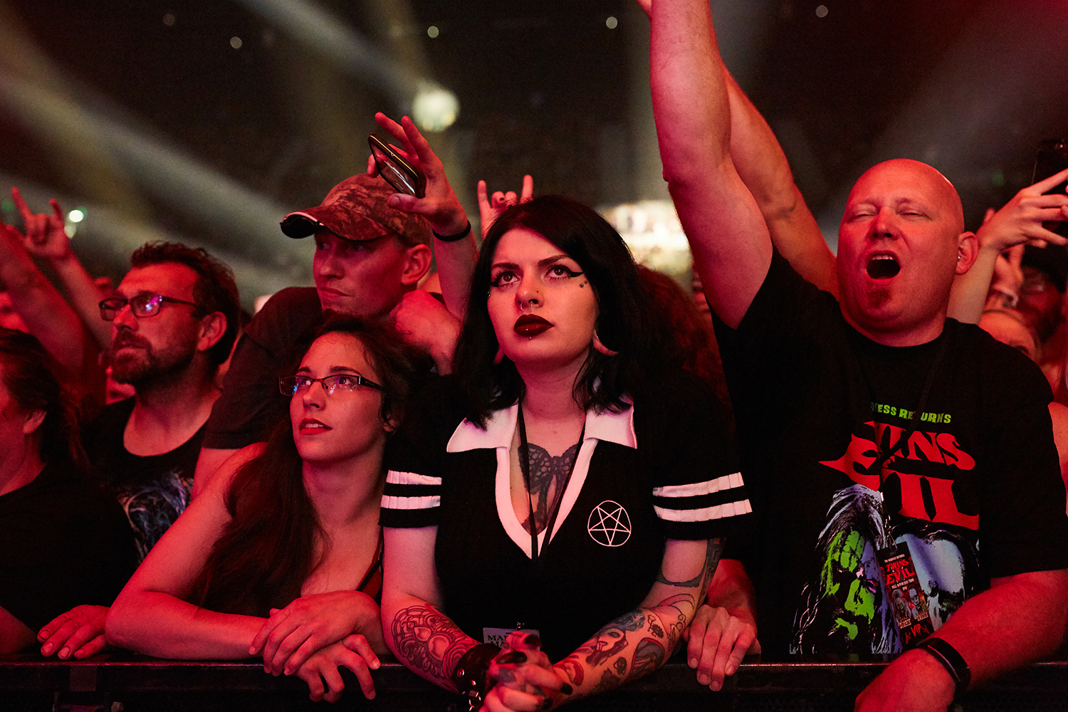 Fans cheer on Rob Zombie during a performance as part of the Twins of Evil Tour at the US Cellular Center in Cedar Rapids on Saturday, Aug. 10, 2019.