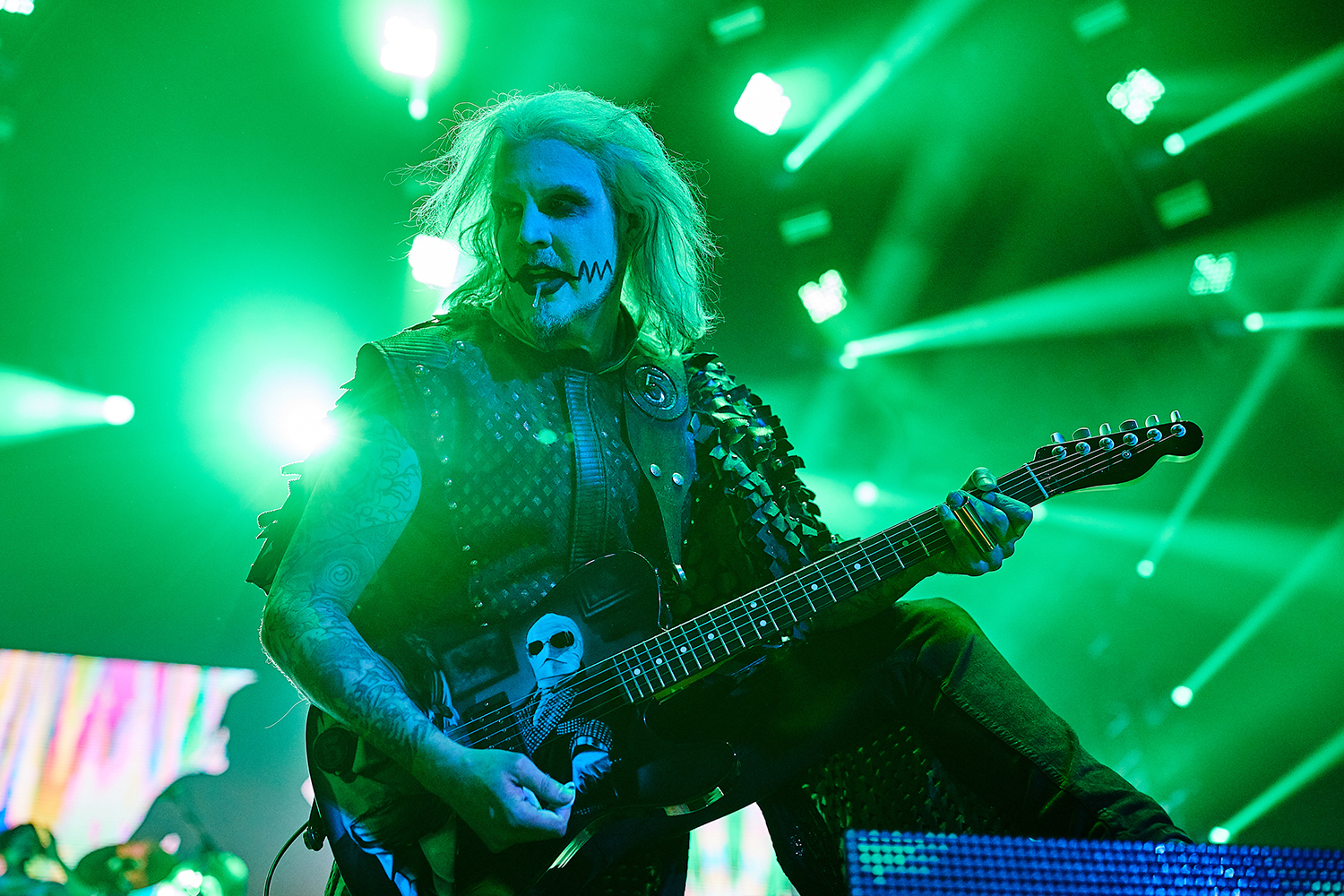 Rob Zombie's guitarist John 5 performs during a concert as part of the Twins of Evil Tour at the US Cellular Center in Cedar Rapids on Saturday, Aug. 10, 2019.