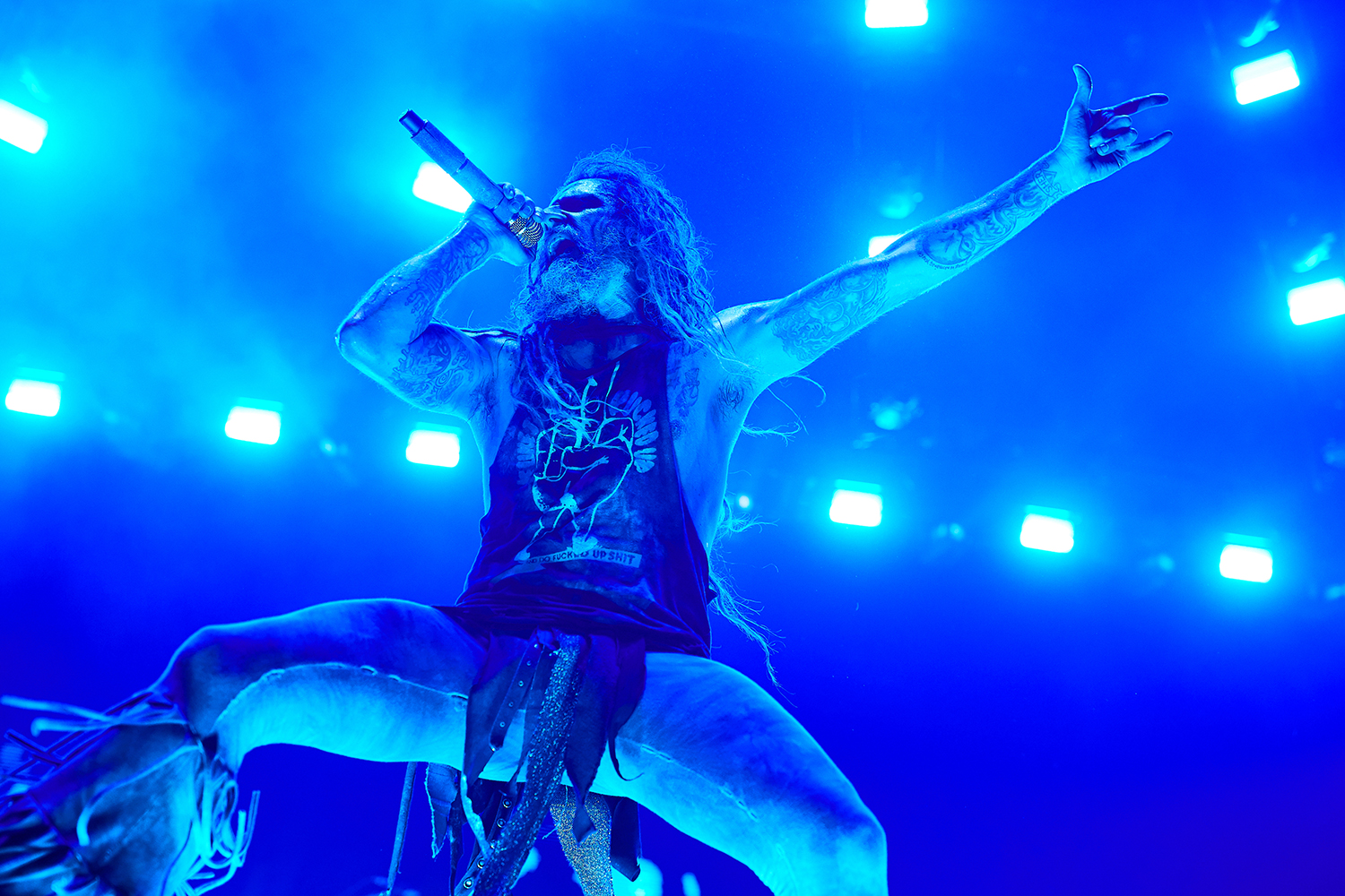 Rob Zombie performs during a concert as part of the Twins of Evil Tour at the US Cellular Center in Cedar Rapids on Saturday, Aug. 10, 2019.