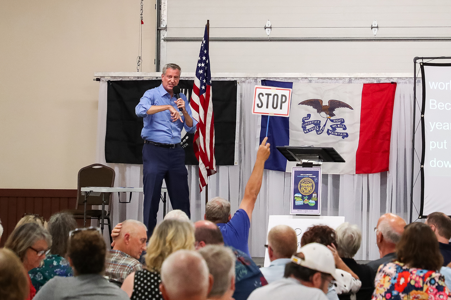 New York City Mayor Bill de Blasio speaks at the 1st District Democrats Passport to Victory rally at the Linn County Fairgrounds on Saturday, Aug. 10, 2019.