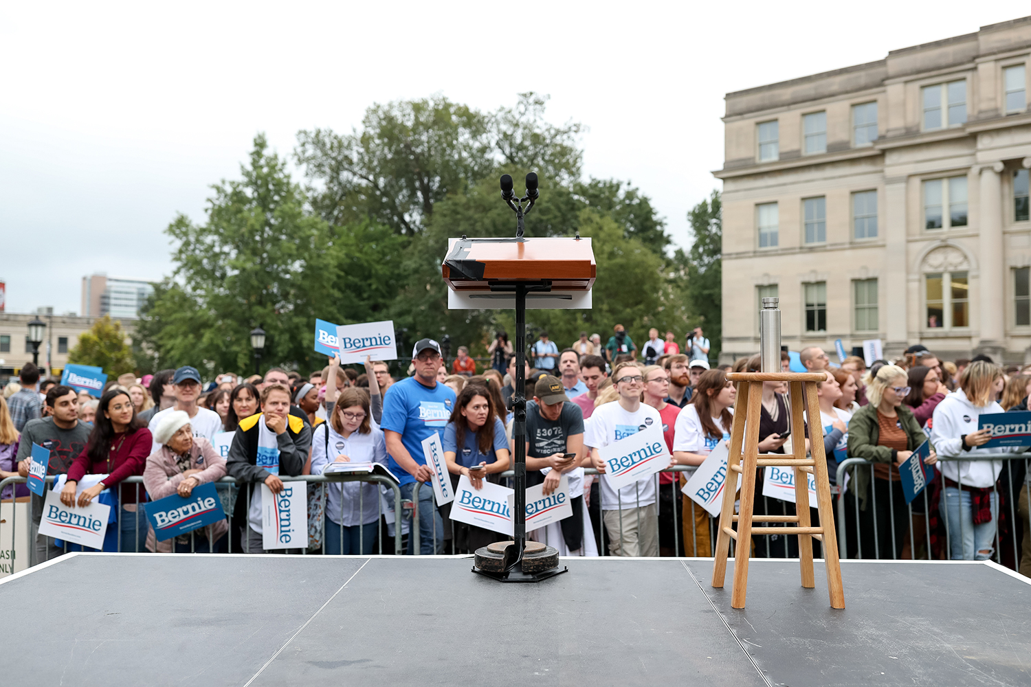 A lectern sits on stage before a campaign rally for Democratic Presidential Candidate Senator Bernie Sanders (I-VT) on the Pentacrest at the University of Iowa in Iowa City on Sunday, Sep. 8, 2019.