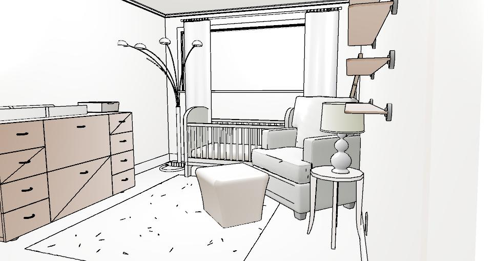 (3D presentation does not always reflect actual items chosen, but rather represents the overall layout of the room)