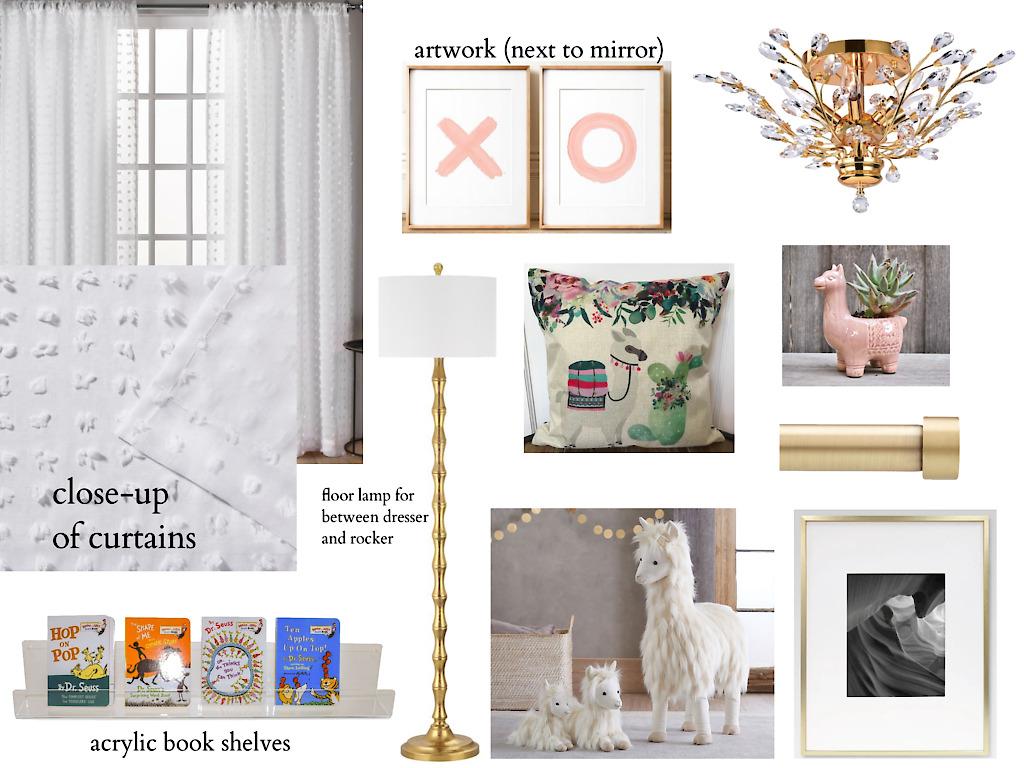 Pink and gold llama theme baby girl e-design nursery accessories board, the dream nursery movement, #dreamnurserymovement.jpg