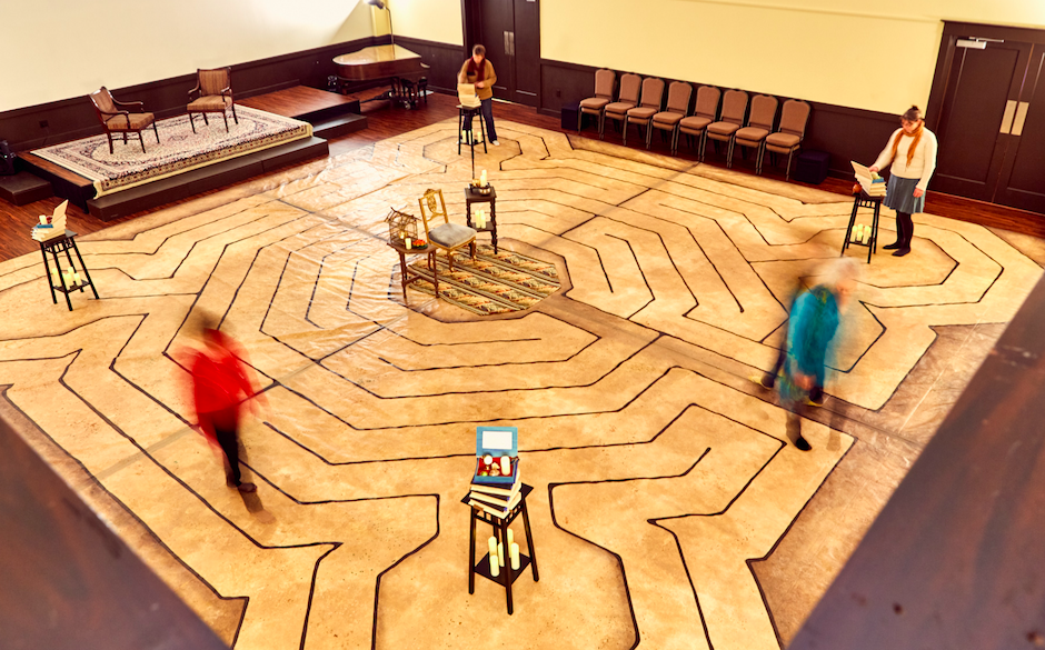 "The first year of the Reims-inspired labyrinth ""in situ"" a Cerimon House, 2017"