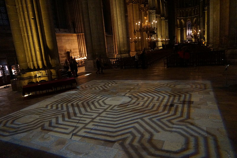 The recreation of the Reims labyrinth through projected light….in the exact place where the original was in situ. The original, traversed by pilgrims, devotees (and even rowdy school children) for centuries, was destroyed by the Canons of the church irself: in the year 1786.