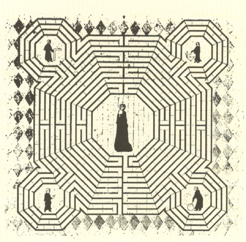 A drawing that remains of the original installation in the cathedral, which was then removed 500 years later. It depicts five of the key artisan-masons who worked on the labyrinth. Royal coronations proceeded over this pattern.