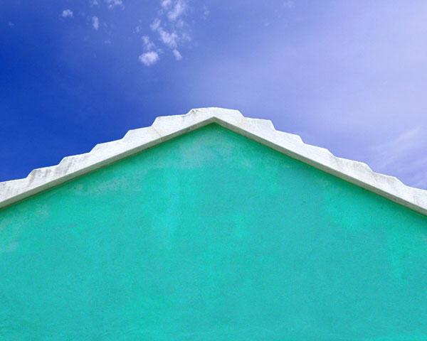 CARIBBEAN HOUSE, GREEN AND WHITE ON BLUE