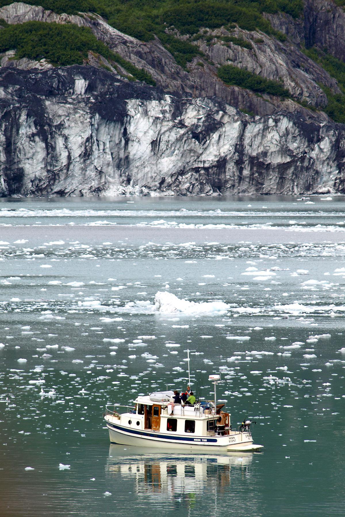 A BOAT IN GLACIER BAY, ALASKA