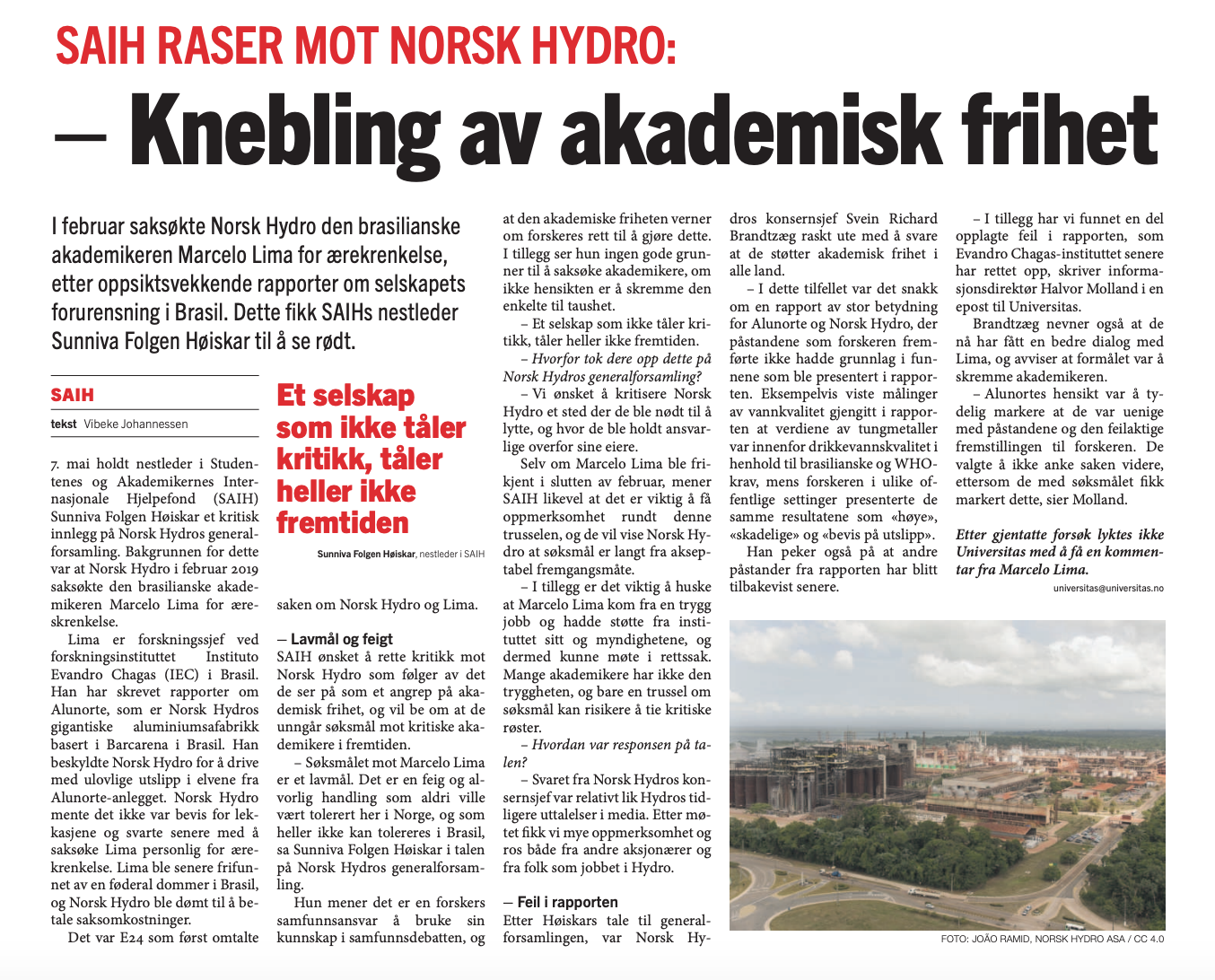SaIH mot norsk hydro -